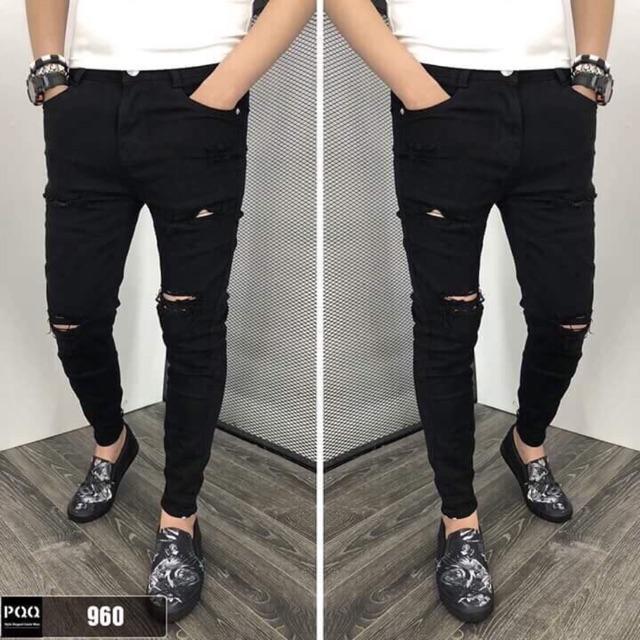Quần jeans nam đen rách gối linashop 2019 linashop 2019