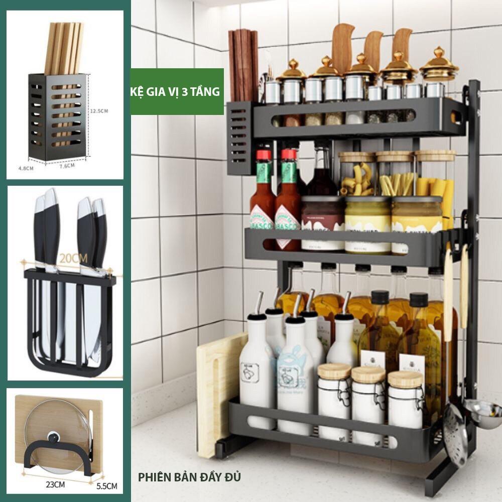 2. Kệ gia vị đa năng INOX phủ sơn tĩnh điện Đen, kệ bếp cao cấp (2 Tầng, 3 Tầng) Loại Dày