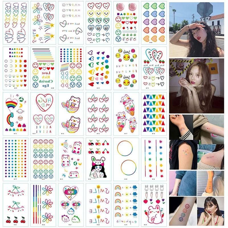 Combo 30 Tấm Hình Xăm Dán Mini Emoji Cảm Xúc - Flash Tattoo Phong Cách Hàn Quốc Cực Cá Tính