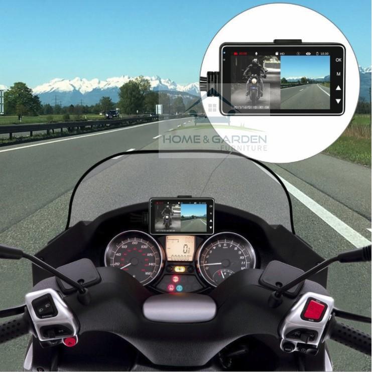 Camera hành trình xe máy, motor có màn hình 3inch, hỗ trợ quay trước và sau - Home and Garden