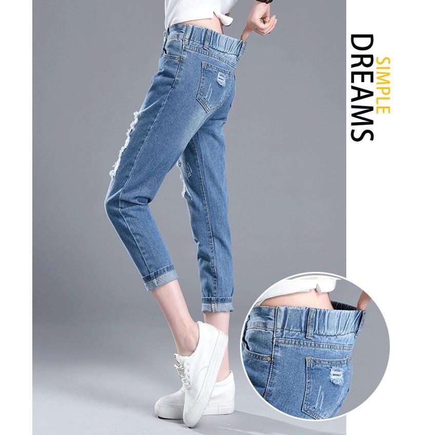 Quần jean rách ống suông thời trang - QNU19.0005BLU