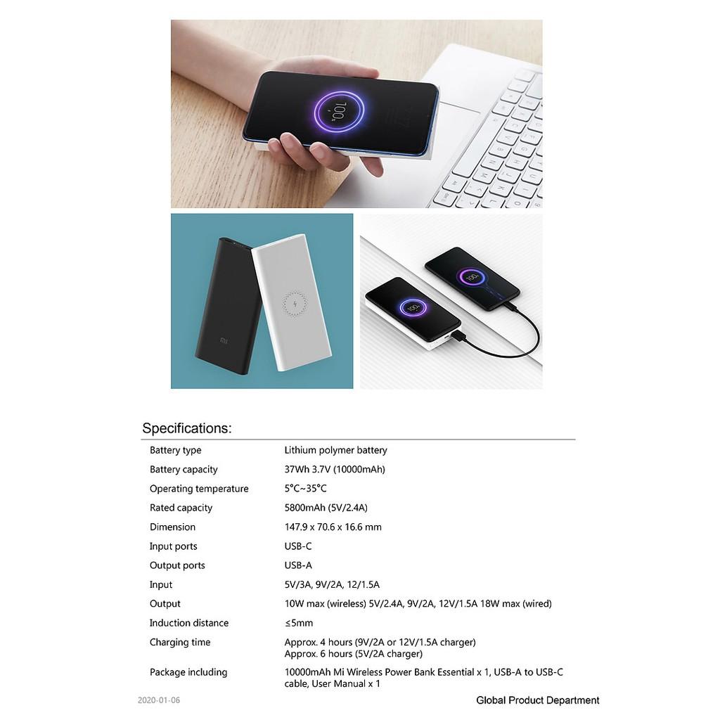 Pin sạc dự phòng Xiaomi 10000mAh Wireless Essential/ Trắng (White) (VXN4294GL)