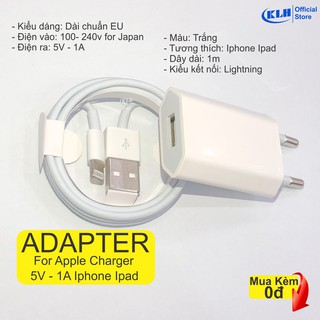 Combo bộ sạc iphone củ dài Fc20, cóc và cáp xạc nhanh cho iphone ipad cóc sạt dẹp 5W tiêu chuẩn Apple EU, dây dài 1m KLH thumbnail
