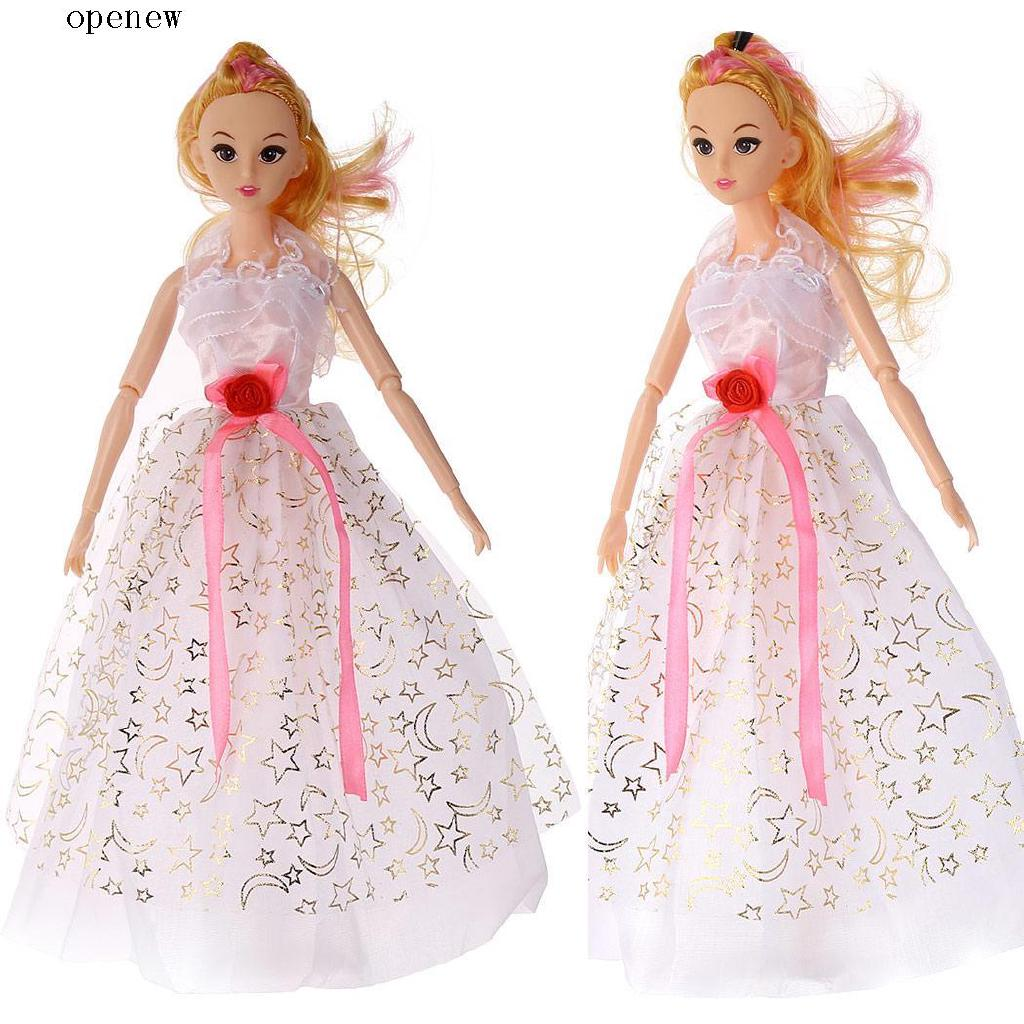 op Beautiful Pretend Princess Vinyl Doll Toy with Doll Party Evening Dress Doll Set
