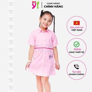 Đầm sơ mi cho bé YF màu trắng và hồng, vải cotton mềm, form cực sang 9DX547