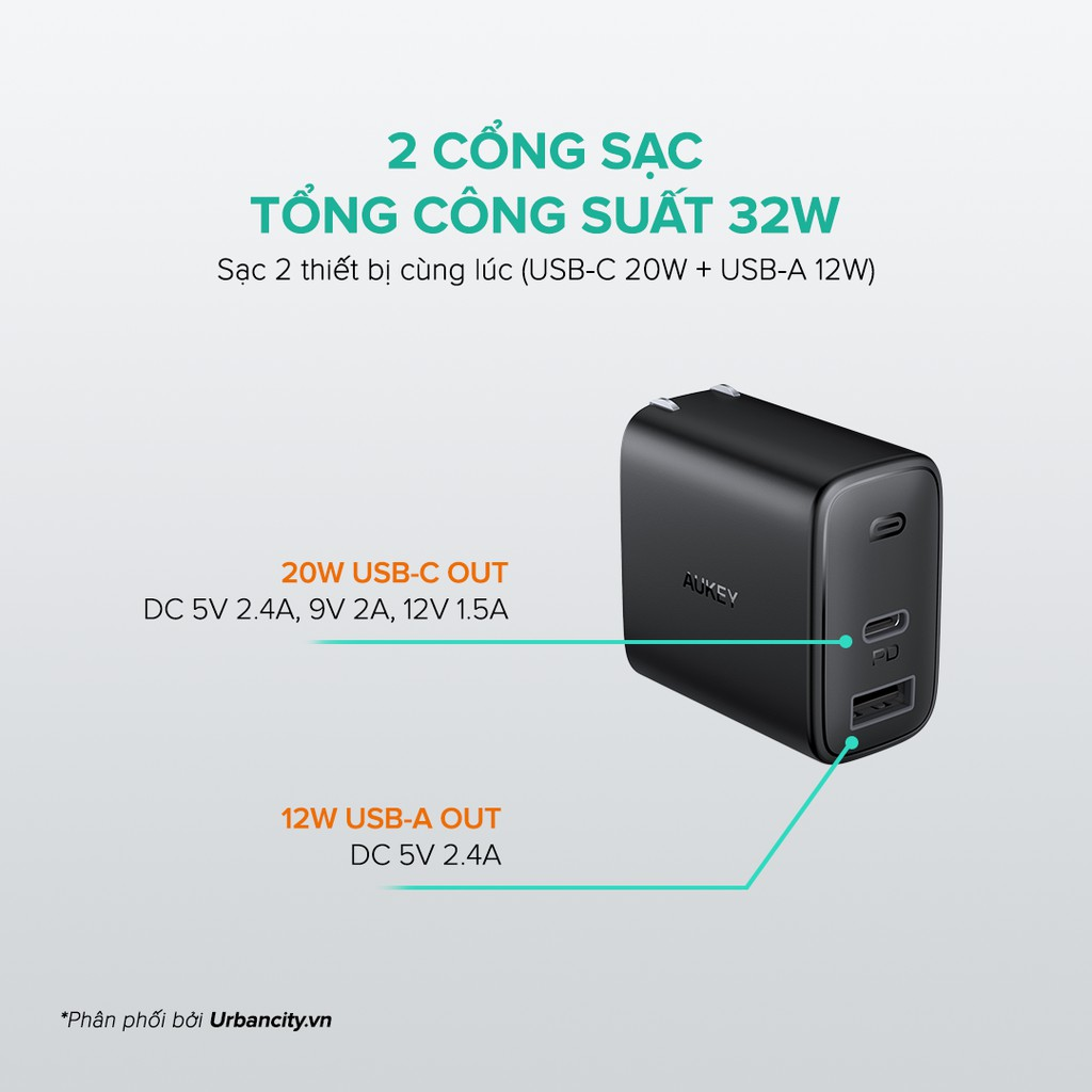 Combo AUKEY Cốc Sạc 2 Cổng PA-F3S Sạc Nhanh Type C PD 18W, USB-A 12W + Cáp C To Lighning MFi CB-CL, Hỗ Trợ PD Lên Tới 22