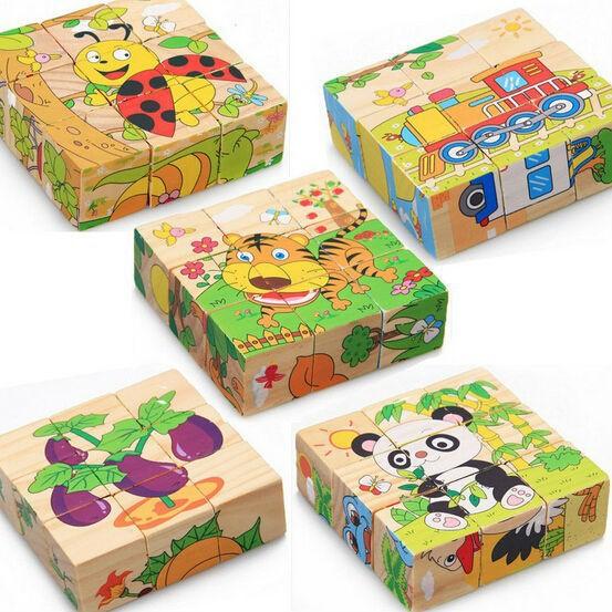 [Ana Kids] Đồ chơi bộ ghép hình 6 mặt 9 miếng gỗ cho bé lắp ghép được 6 bức hình khác nhau FRESHIP 99k