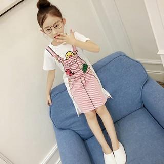 Đầm cotton ngắn tay , in họa tiết hoạt hình cho bé gái