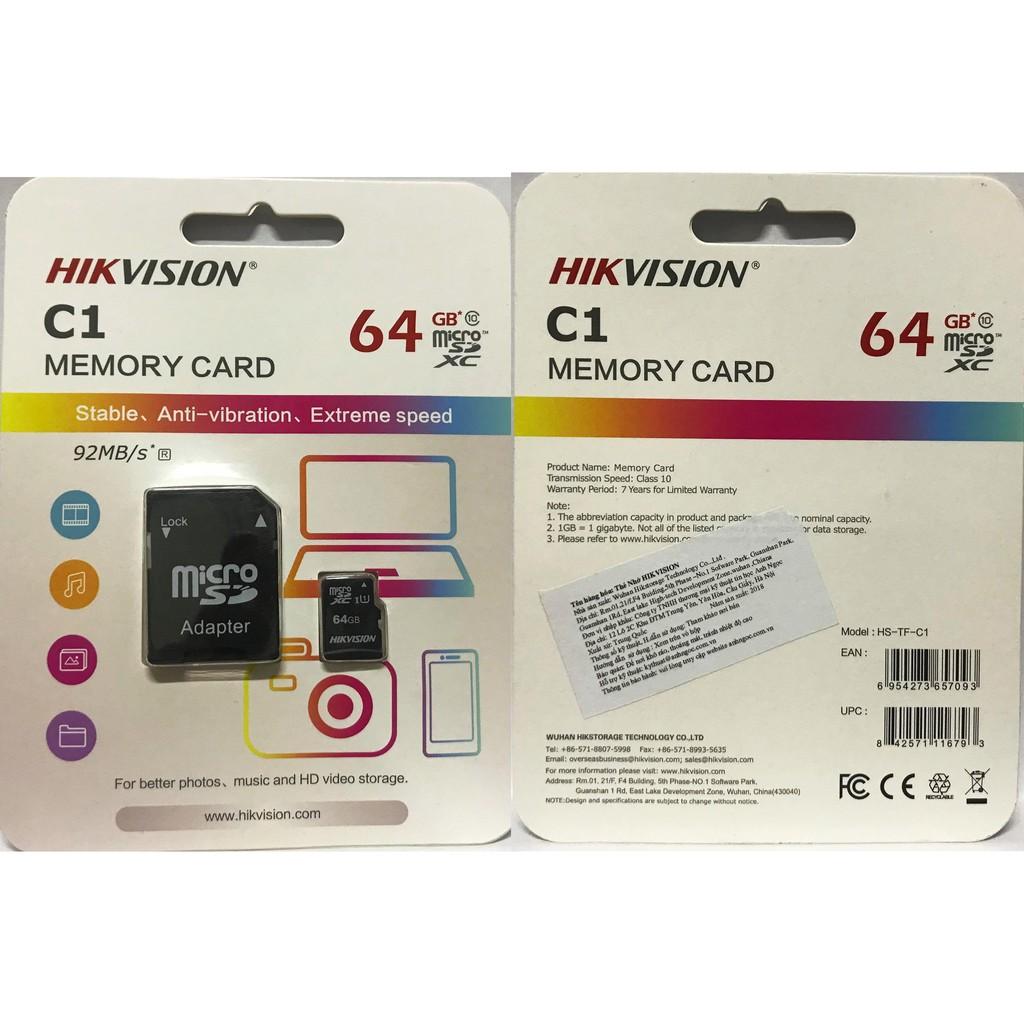 Thẻ nhớ HIKVISION 64GB HS-TF-C1