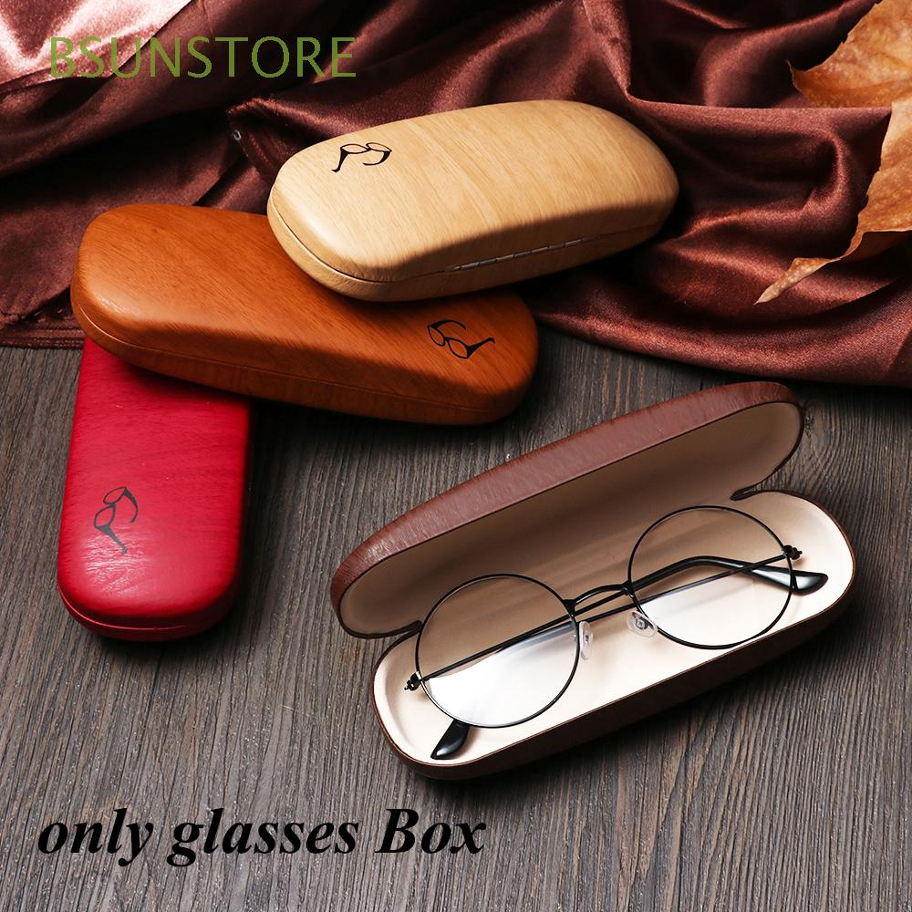 Portable Men Women PU Leather Wood Grain Metal Reading Glasses Case