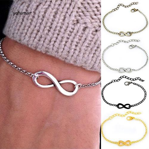 Punk Infinite Infinity Sign Metal Chain Bracelet with Adjustable Lobster Clasp