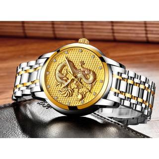 Đồng hồ nam rồng vàng DRAGON cao cấp dây thép đúc đặc chống nước siêu bền - Đồng Hồ Quốc Tế