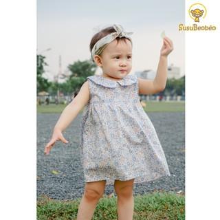 Đầm sát nách cho bé cổ sen vải cotton trắng họa tiết hoa nhí (vải tốt - may kĩ)