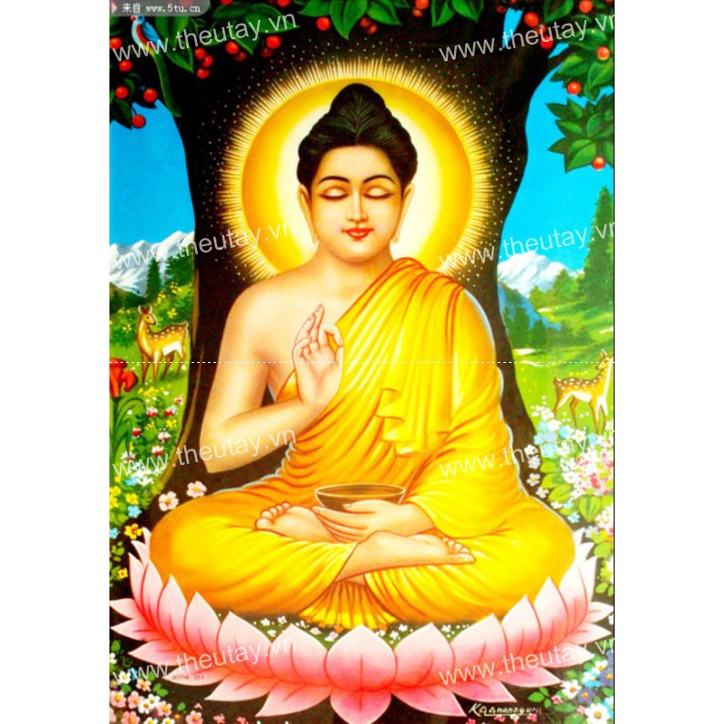 Tranh đính đá kim cương đa sắc Đức Phật Dưới Gốc Bồ Đề YN5259