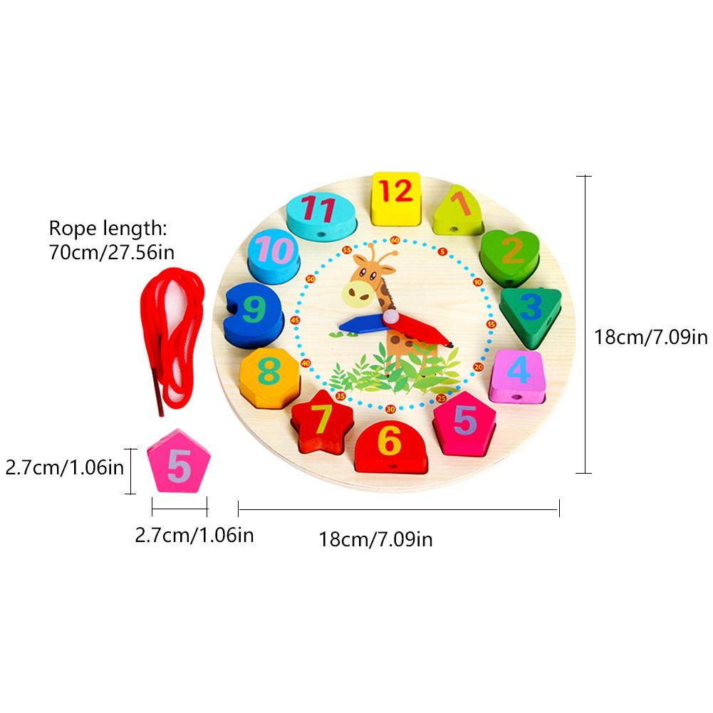 Digital Number Cognitive Toy Alarm Clock Shape Lanyard Threading Bead Wooden Building Blocks Kids
