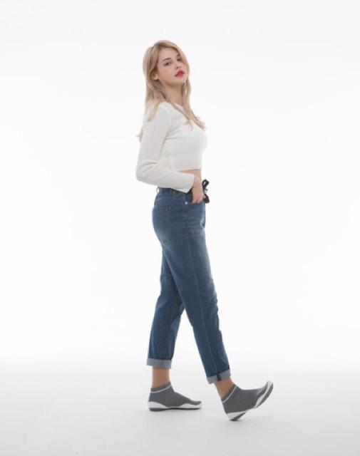 CHÍNH HÃNG GGOMOOSIN - Giày tất cho ngừoi lớn women shoes xám có cổ