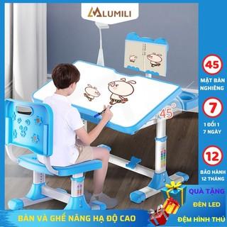 [Tặng đèn led + đệm ghế ] bàn học sinh trẻ em  A601 bộ bàn học thông minh chống gù chống cận cho bé nâng hạ độ cao