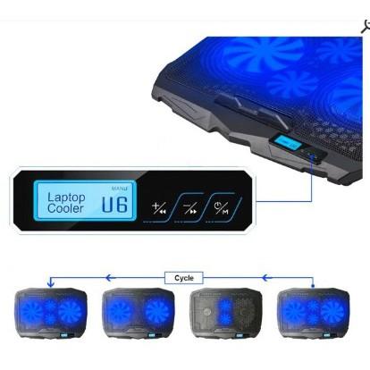 Đế tản nhiệt 4 quạt Cooler S18 có đèn led cho laptop 14-17 in