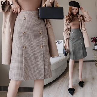 Chân Váy Lưng Cao Họa Tiết Sọc Caro Phối Hai Hàng Nút Thời Trang Theo Phong Cách Hồng Kông