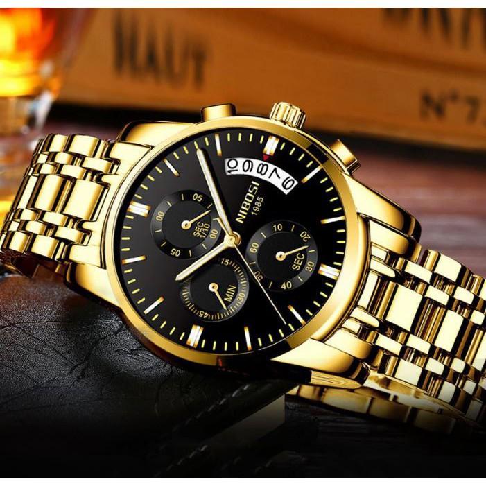 [Tặng vòng tay]Đồng hồ nam NIBOSI chính hãng NI2353 ( Dây kim loại ) thép không gỉ