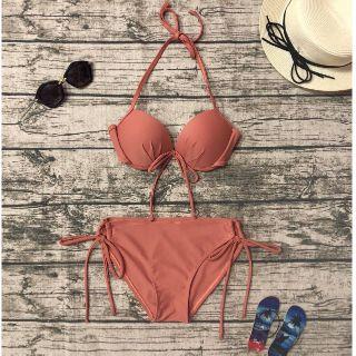 Bikini áo ngực quần chip cột nơ cam đất (9 màu)