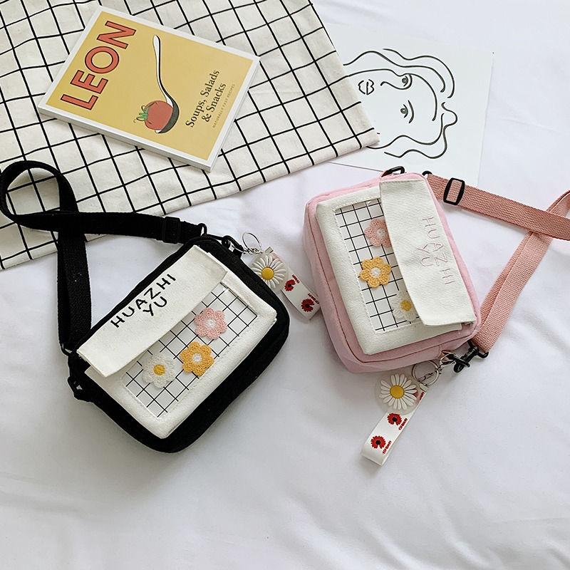 Túi canvas đeo vai họa tiết ca rô dễ thương dành cho nữ