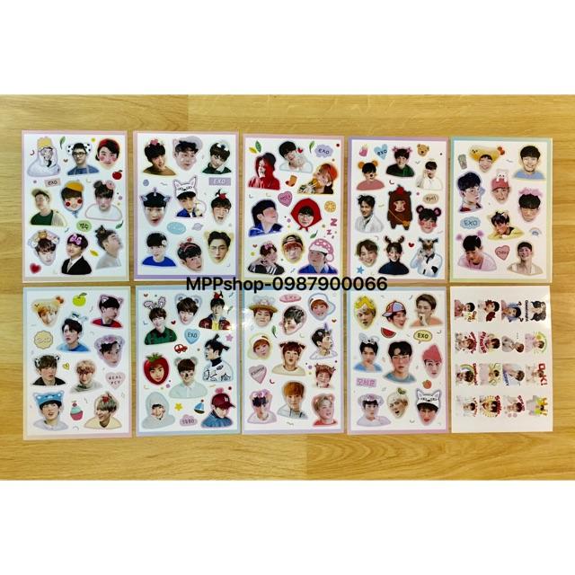 Combo 10 bảng sticker EXO như hình