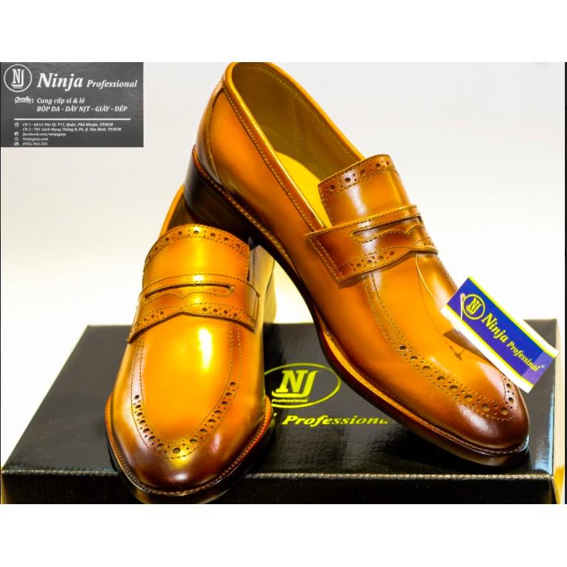 Giày tây lười Patina da bò ý hàng cao cấp giày xuất khẩu