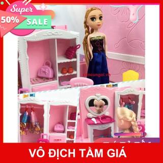 GIÁ SỐC- HCM- Đồ chơi Vali Dreamhouse Elsa-Anna nội thất nhà Frozen 2 búp bê , 1368-142