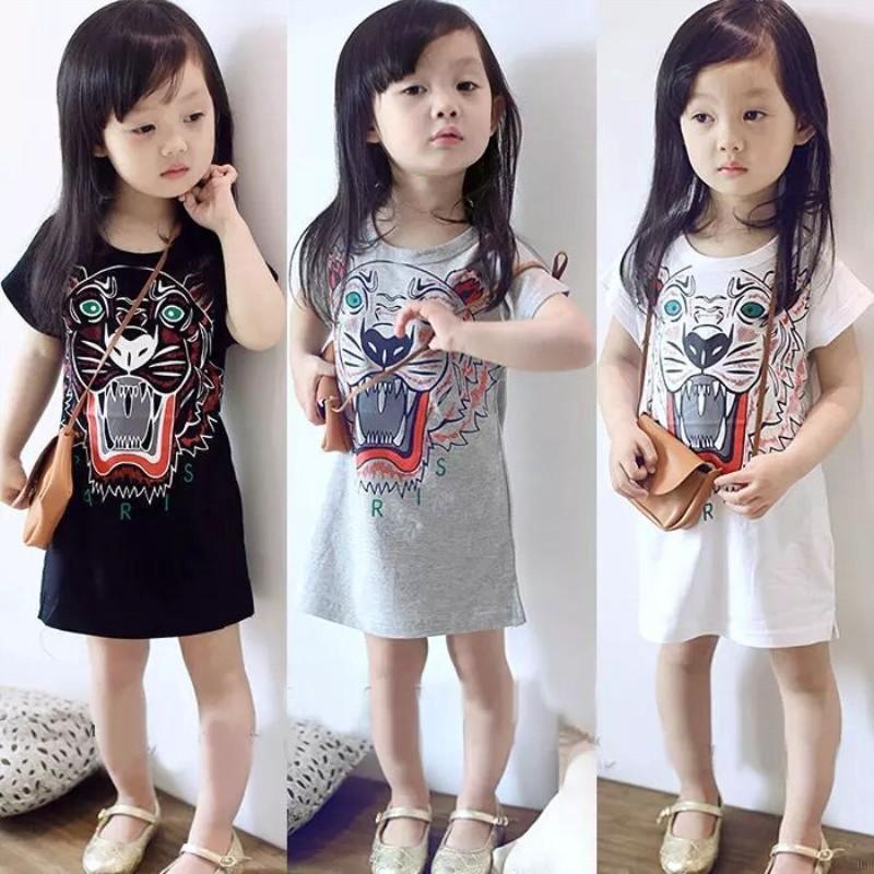 Đầm ngắn tay in họa tiết hoạt hình cho bé gái