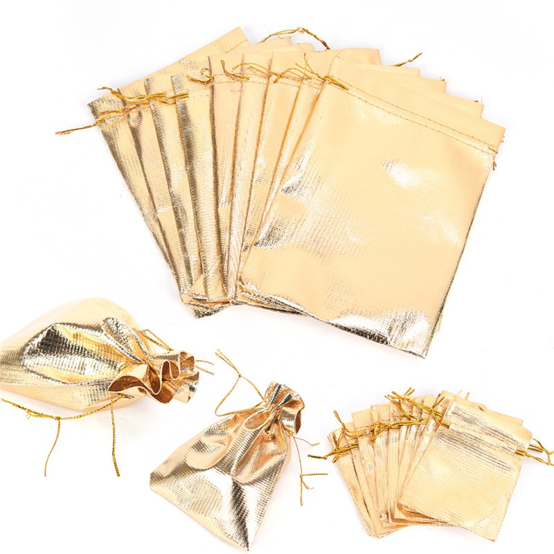 10PCS Wedding Drawstring Pattern Organza Party Gift Bags Candy Jewelry Pouches