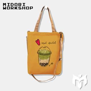 Túi tote và đeo chéo 2 trong 1 vải canvas giá rẻ shop tự chọn màu cho khách theo chương trình khuyến mãi M Studio thumbnail
