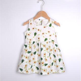 Đầm bé gái in hình dễ thương ngộ nghĩnh chất cotton thoáng khí, an toàn cho bé