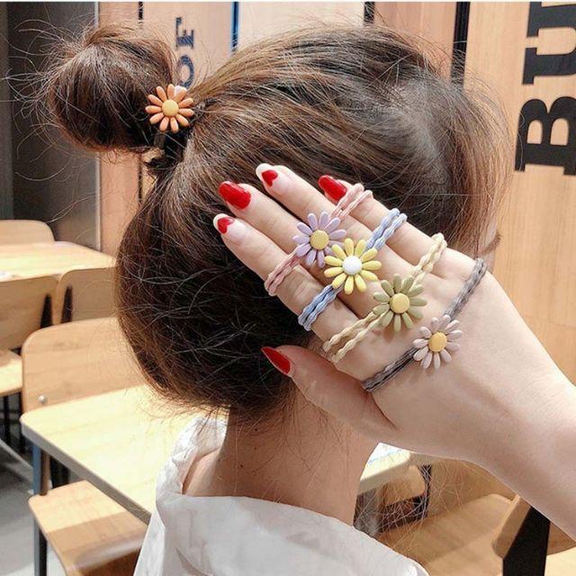 p29 Dây buộc tóc hoa cúc chi nhiều màu sẵn hàng sll giao đủ màu