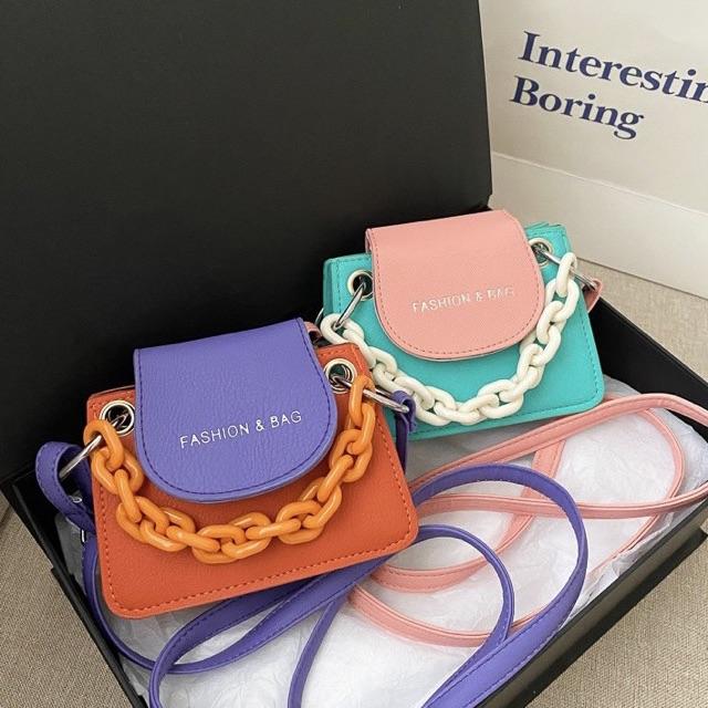 Túi đeo chéo nữ mini phối màu Fashion & Bag