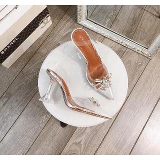 Sandal Nữ Cao Gót Quai Mika Trong Mũi Nơ Đá Cánh Bướm Siêu Xinh A12