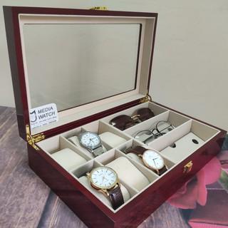 Hộp đựng đồng hồ 6 ngăn và 3 kính mắt màu đỏ vân, chất liệu gỗ thumbnail
