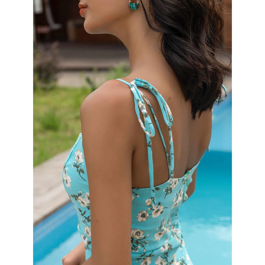 Đầm Mini Dây Hoa Xanh - YV LE & CO