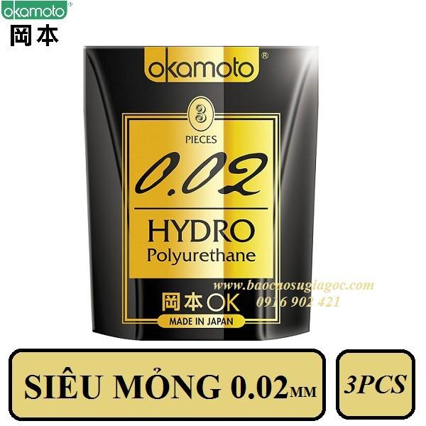 Bao cao su Okamoto 002 Hydro siêu mỏng 3pcs