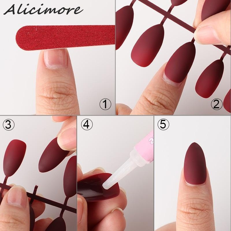 Alicimore 24Pcs Matte Fake Nails overhead Multiple Color Coffin Full Cover Detachable Nail