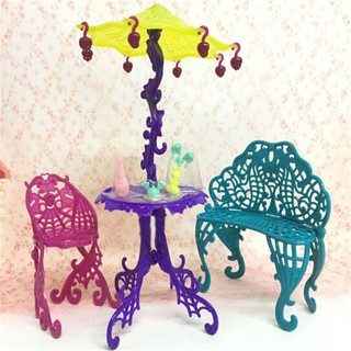 {NUV} Amusement Bar Couch Chairs Table Dessert Umbrella Kid Toy Dolls House Furniture{LJ}