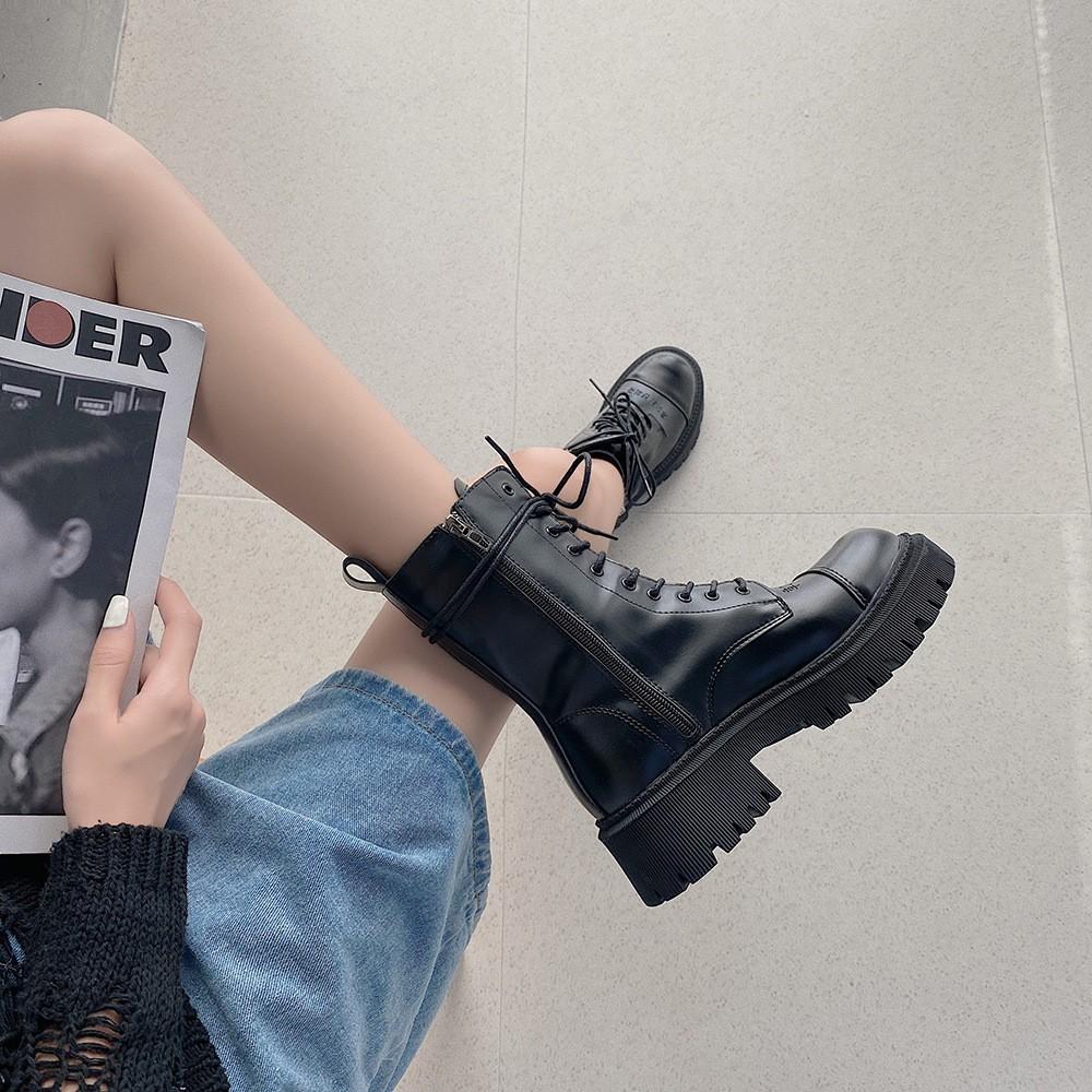 Giày bốt martin đế dày phong cách retro năng động thời trang cho nữ