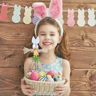 ★Hi★DIY Straw Rabbit Toy Easter Ornament Home Decor Children Creative Gift