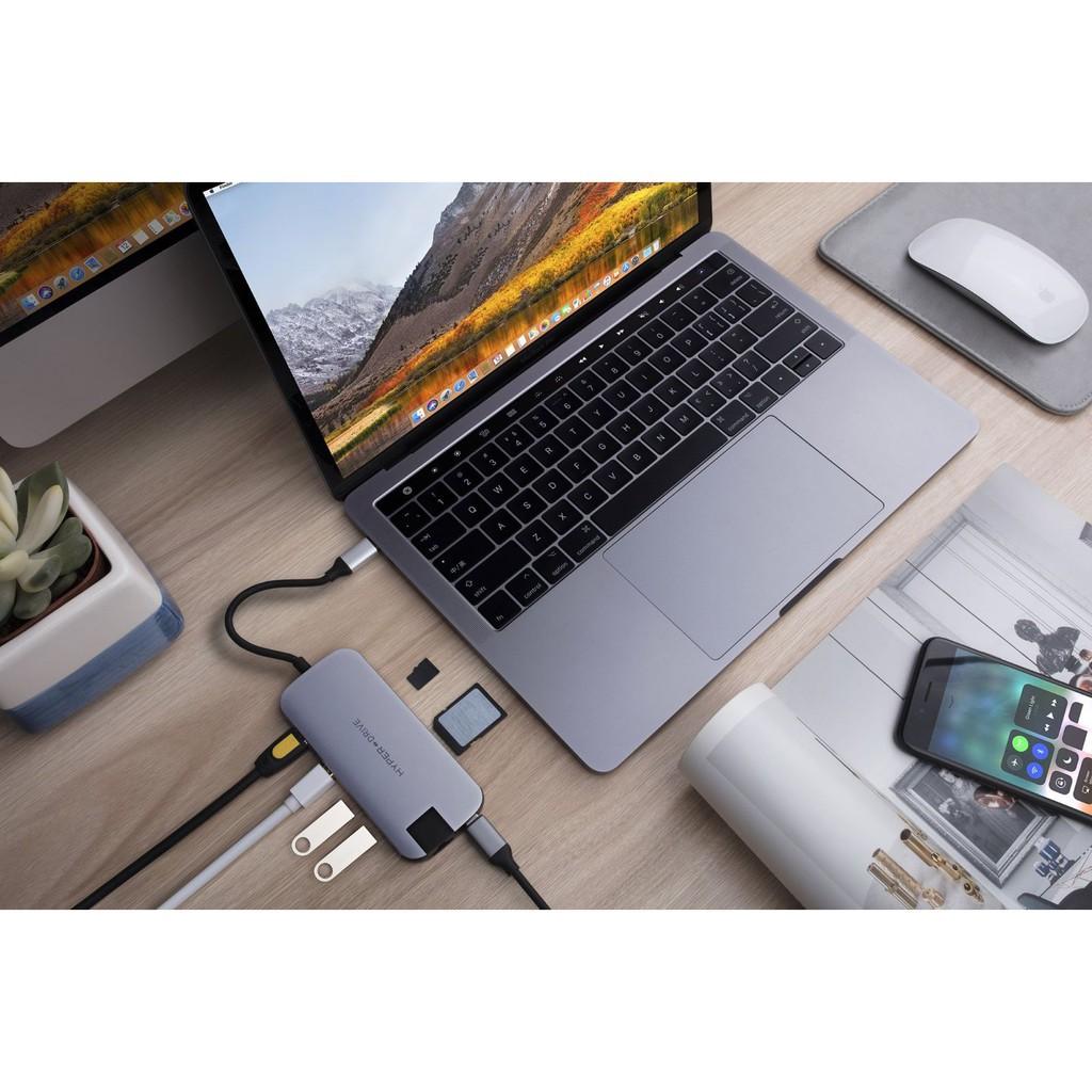 Cáp Hyperdrive SLIM 8 in 1 USB-C Hub for MacBook, PC & Devices chính hãng USA