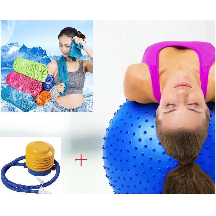 Combo bóng tập yoga gai 65cm kèm bơm + Khăn lạnh thể thao