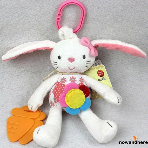 OAO-Hot Sell Baby Toy Soft Plush Rabbit Baby Rattle Ring Bell Crib Bed Hanging