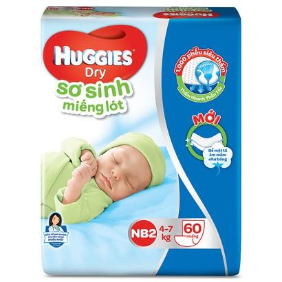 Miếng Lót Sơ Sinh Huggies Newborn 2 (4-7kg) --40 miếng/60 miếng