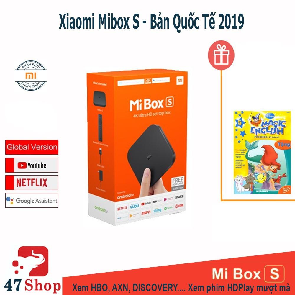 Android Tivi Box Xiaomi Mibox S 4K 2019 Bản Quốc Tế Tiếng Việt tìm kiếm giọng nói - phân phối chính hãng