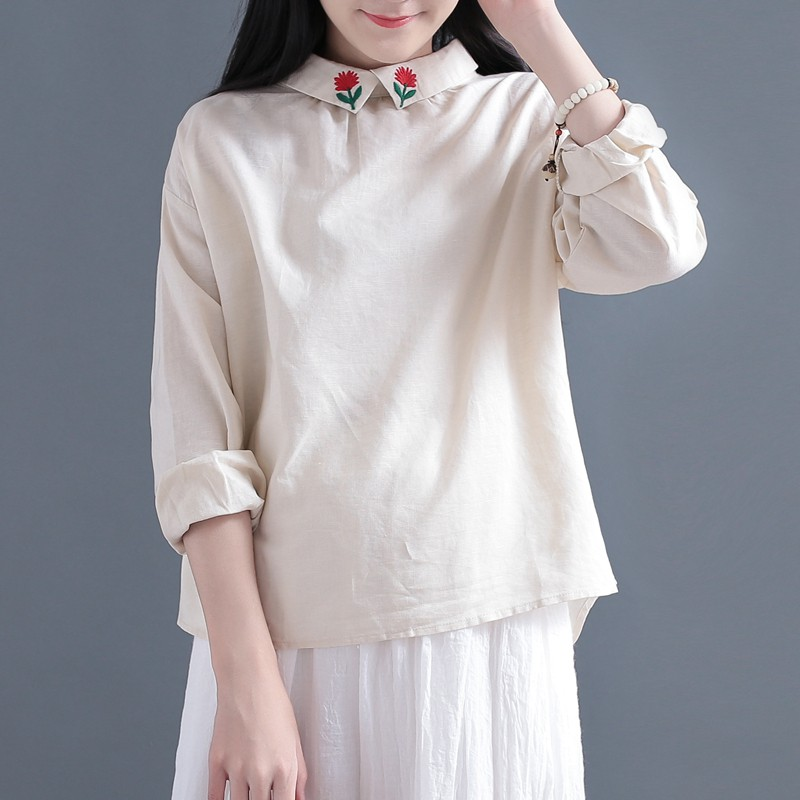 Qing 袅 embroidered collar long-sleeved cotton and linen shirt female Qiu Sen fem