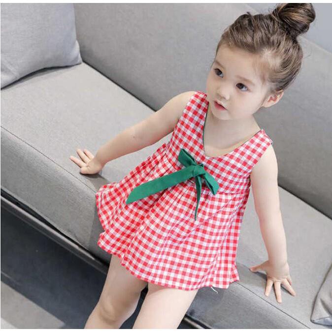 Girls' Summer Wear Plaid Sling Vest Dress Kid'S Dress Little Girl'S Princess Dress